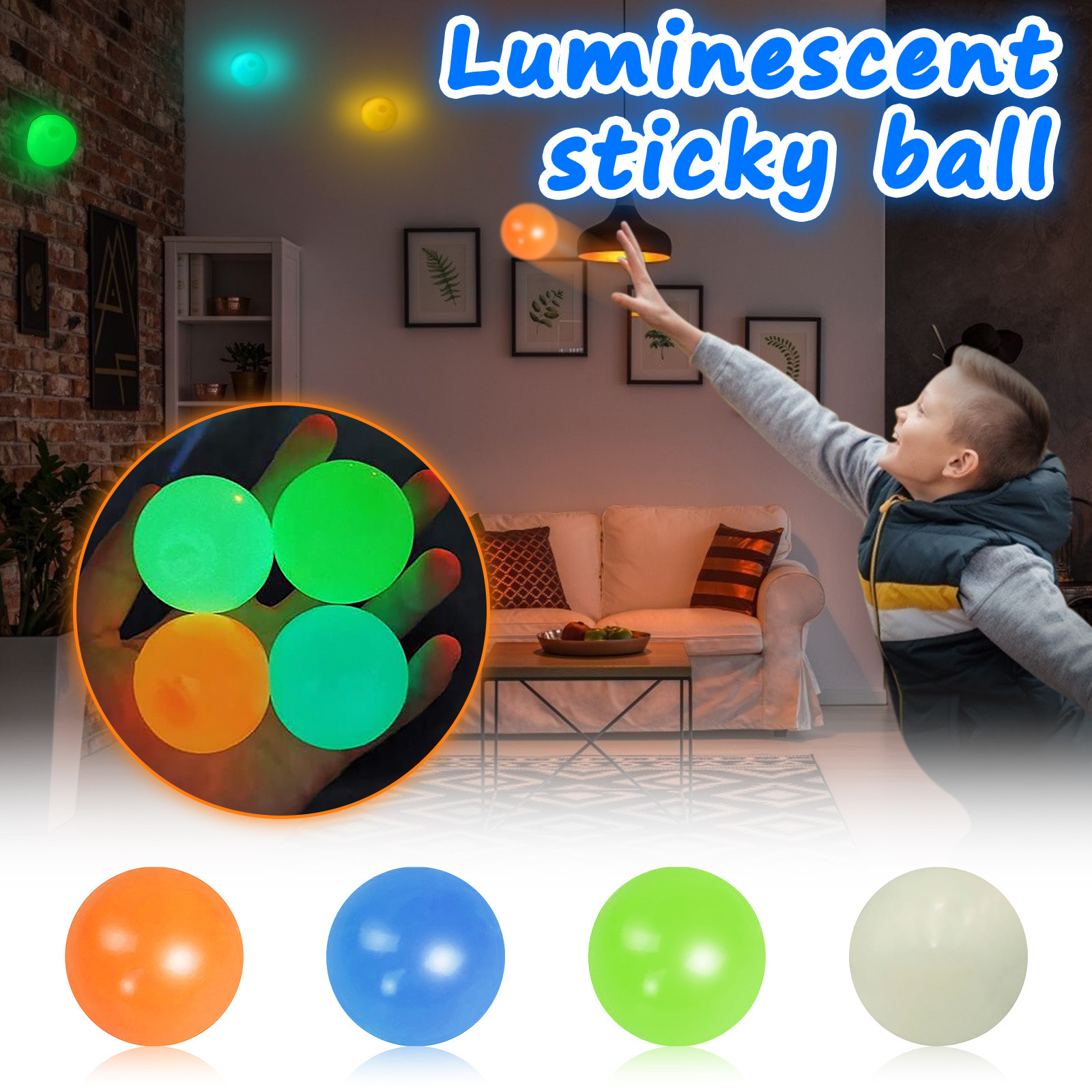 Fidget-Toy Wall-Balls Stress Relief Sticky Squishy 1-4pcs-Squeeze-Toys Kids Gift Luminous