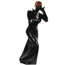 Long-Dress Performance-Costume Catwoman Sexy Women Cosplay Plus-Size PVC with Connected-Glove