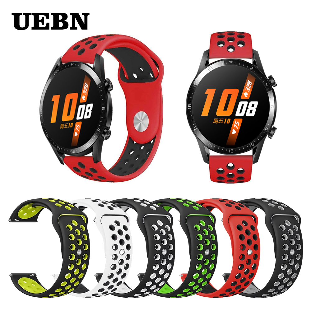 UEBN Silicone 20mm 22mm Replacement Breathable Band For HUAWEI WATCH GT 2 46mm 42mm Strap HONOR Magic GT Active Watchbands