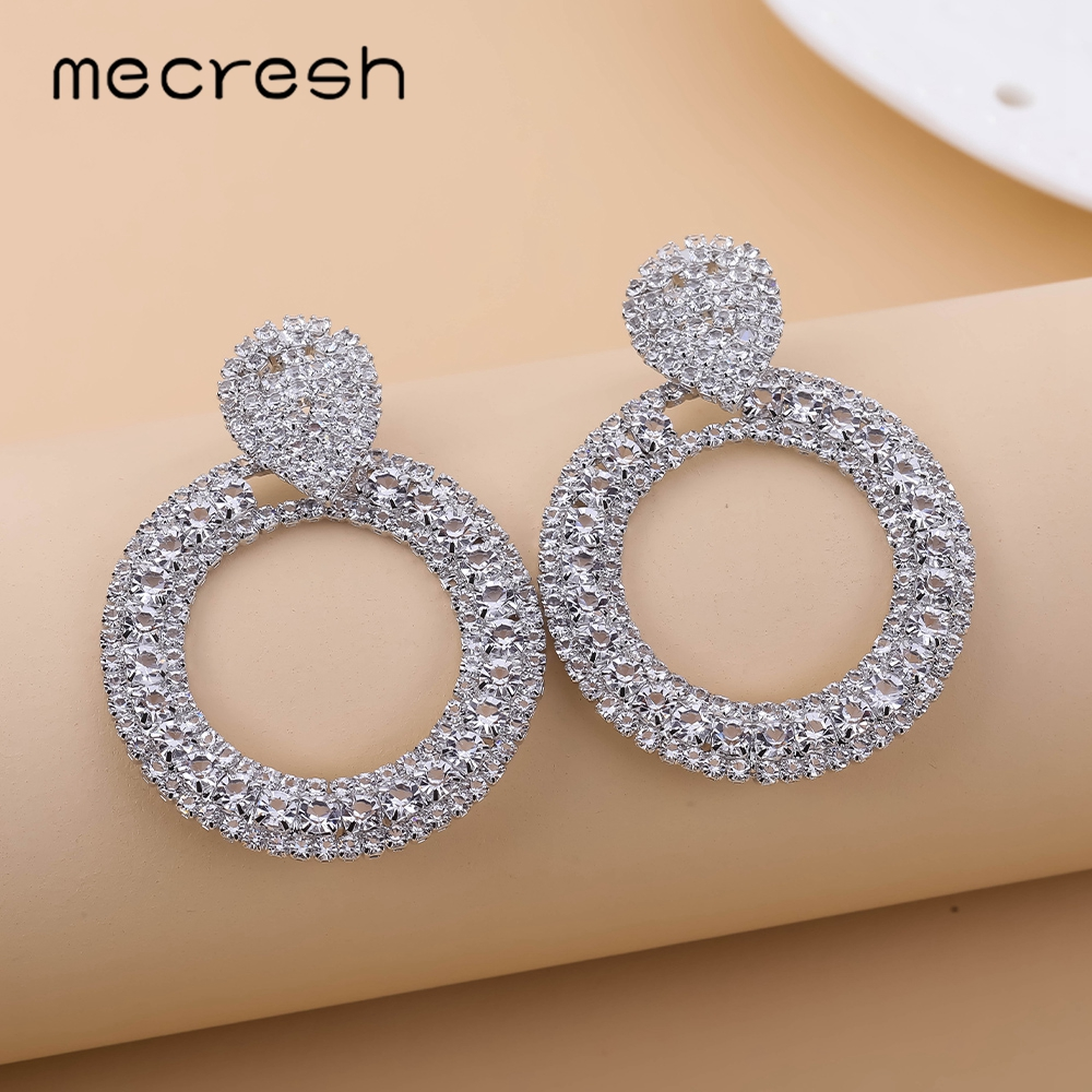 Mecresh Round Circle Drop Dangle Earrings With Rhinestone Silver Gold Color Bridal Wedding Party Prom Earrings Jewelry MEH1696