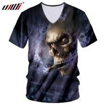 UJWI Man Hip Hop Fashion Brand Spandex V Neck 3D Tshirt Printed Smog Skull Tee Shirt Men's Gothic Polyester Big Size T-shirt(China)