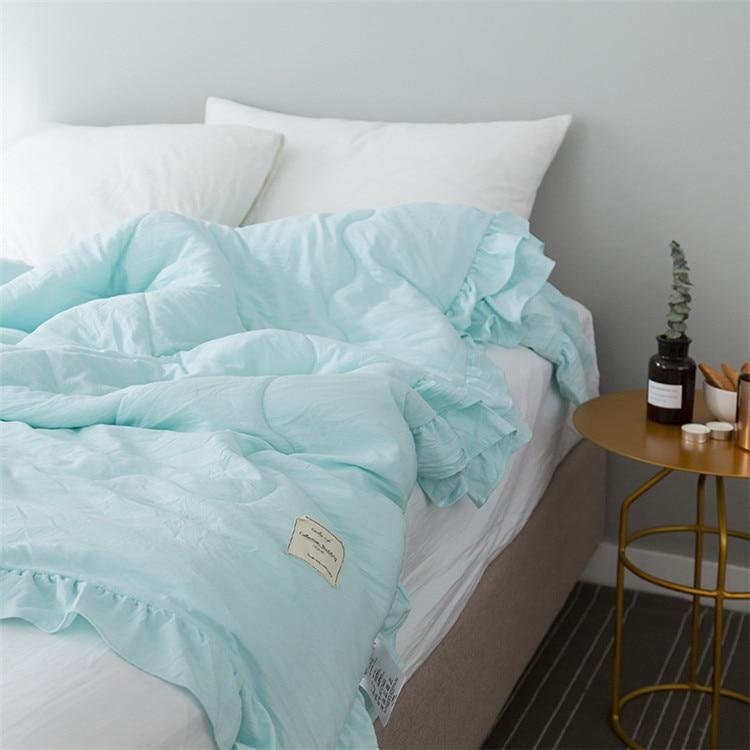 Однотонное розовое, зеленое, тонкое летнее одеяло, покрывало для кровати, лоскутное одеяло, подходит для взрослых, детей, домашний текстиль