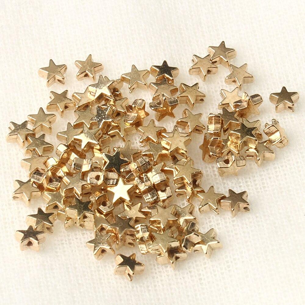 100 Pçs/lote 6x3mm Dentro do Buraco CCB Estrela de Prata de Ouro Cor Solto Spacer Acrílico Beads DIY Jewelry Making Achados Grânulos de Charme
