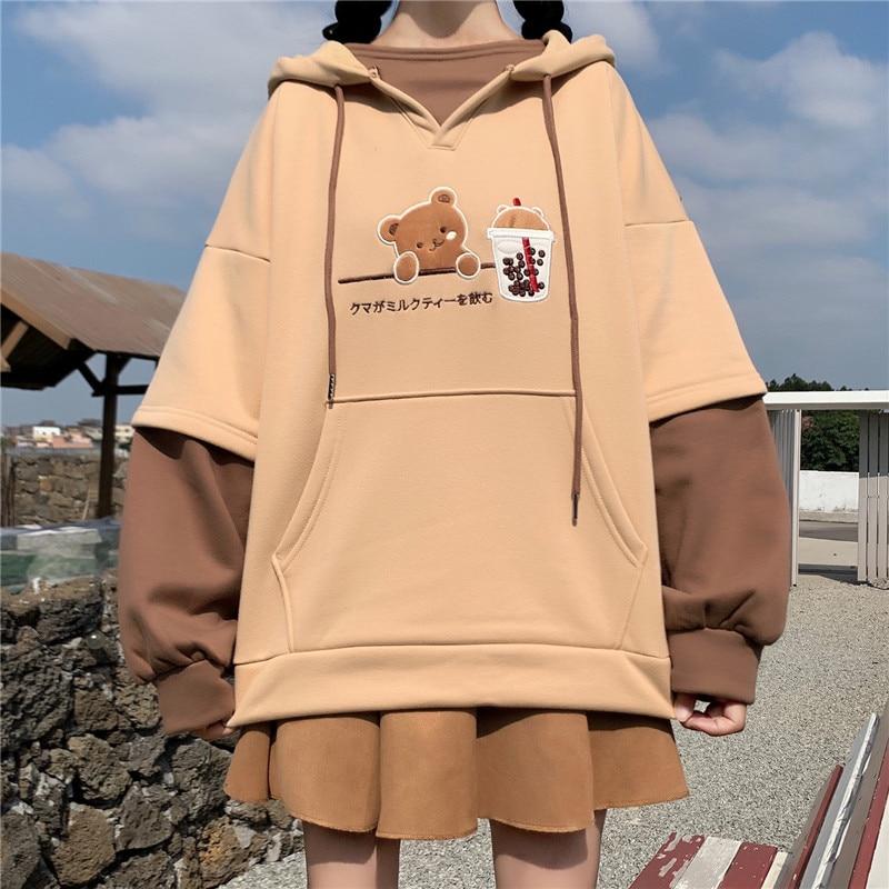 Harajuku Mode Frauen Hoodies Winter Kleidung Kawaii Fleece Niedliche Bär Anime Sweatshirt Teen Mädchen Ästhetischen Langarm Pullover