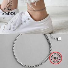 S'STEEL 925 Sterling Silver Anklets For Women Tornozeleira Prata Bransoletka Na Noge Srebro Bracelet Vintage Party Fine Jewelry