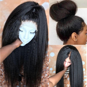 Beaudiva 13*4 Lace Front Human Hair Wigs Kinky Straight Wig Pre Plucked Remy Yaki Lace Wig 4x4 Lace Closure Wig For Black Women
