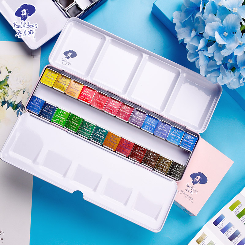 Paul Rubens Fine Solid Watercolor Paint Set With Metal Case Artist level Water Color Pigment Aquarelle For Painting Art Supplies