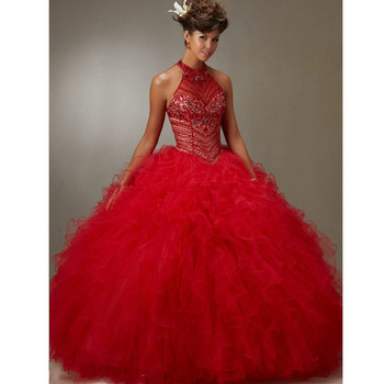 Red 2019 Quinceanera Dresses Ball Gown Halter Organza Ruffles Beaded Crystals Cheap Sweet 16 Dresses