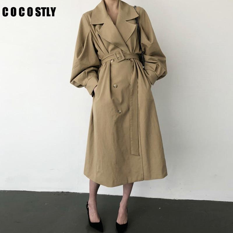 Windbreaker Women   Trench   Coat Belt Waist Autumn Double Breated Oversize Long Coat Lady Streetwear Korean Outwear ropa mujer