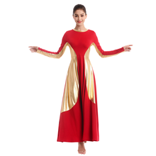 Liturgical Dance Dress Adult Women Metallic Splice Praise Church Costume High Waist Pleated Swing Long