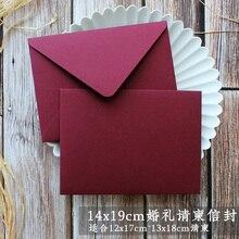 20 pçs/set Criativo Red Cor Engrossar Envelope Envelope para Convites De Casamento do Aniversário Do Natal Papel de Escrita Literki 19*14cm