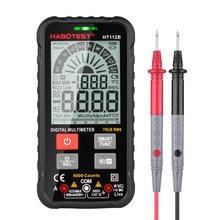 HT112B Mini multímetro digital inteligente Grande tela LCD testador de tensão AC / DC e capacitância de corrente Faixa automática com tira analógica NCV HzAnti-burn Lanterna retroiluminada Multimetro