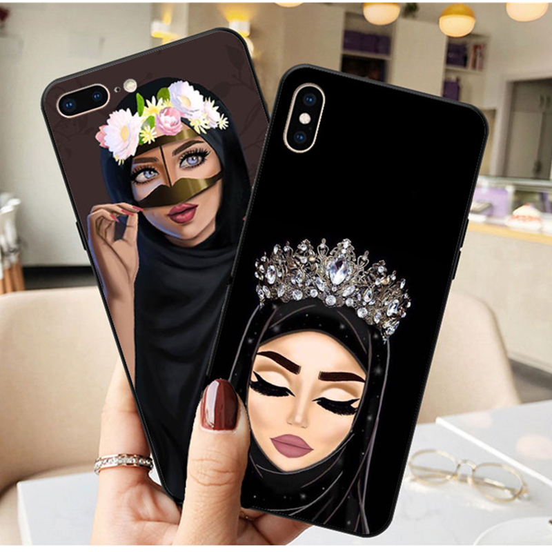 Luxury Woman In Hijab Face Muslim Islamic Gril Eyes Silicone <font><b>Cover</b></font> Phone Case <font><b>for</b></font> <font><b>iPhone</b></font> 11 Pro Max X 5S <font><b>6</b></font> 6S 7 8 Plus XR XS MAX image