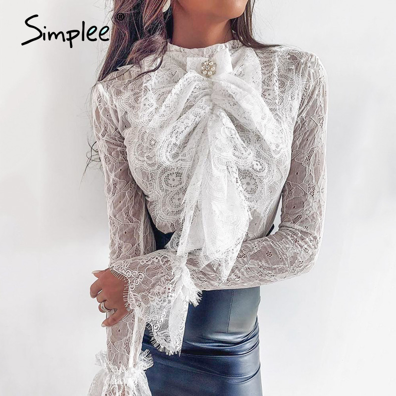 Simplee Streetwear Bow Tie Women Lace Blouse Shirt Stand Neck Ruffles Pearl Female White Tops Spring Summer Ladies Blouses 2020