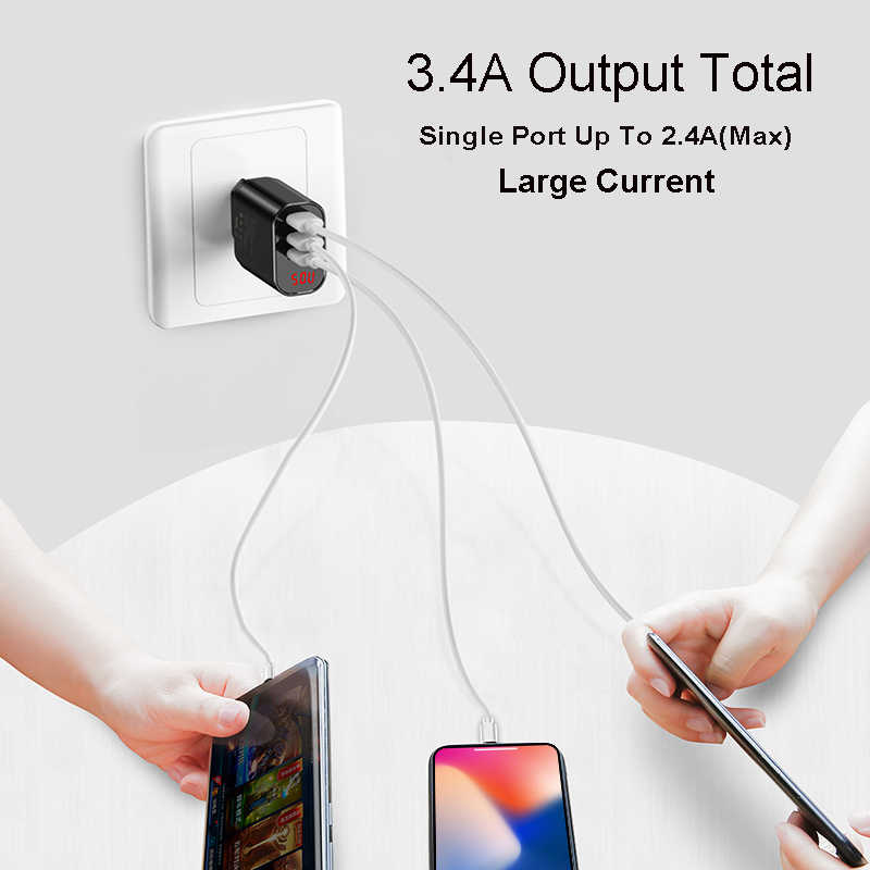 Baseus affichage numérique charge pour iPhone Samsung Xiaomi 3.4A Max chargeur rapide Turbo chargeur mural EU prise américaine chargeur de téléphone