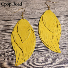 Cpop Three Layers Genuine Goat Leather Earrings Women Nature Feather Elegant Solid Color Tassel Dangle Fashion Jewelry