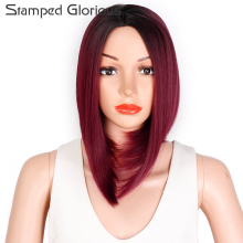 Stamped Glorious Dark Red Bob Straight Shoulder Longth Wigs for Women Middle