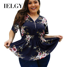 IELGY Hot sale 2020 spring and summer V-neck plus size shirt printed top