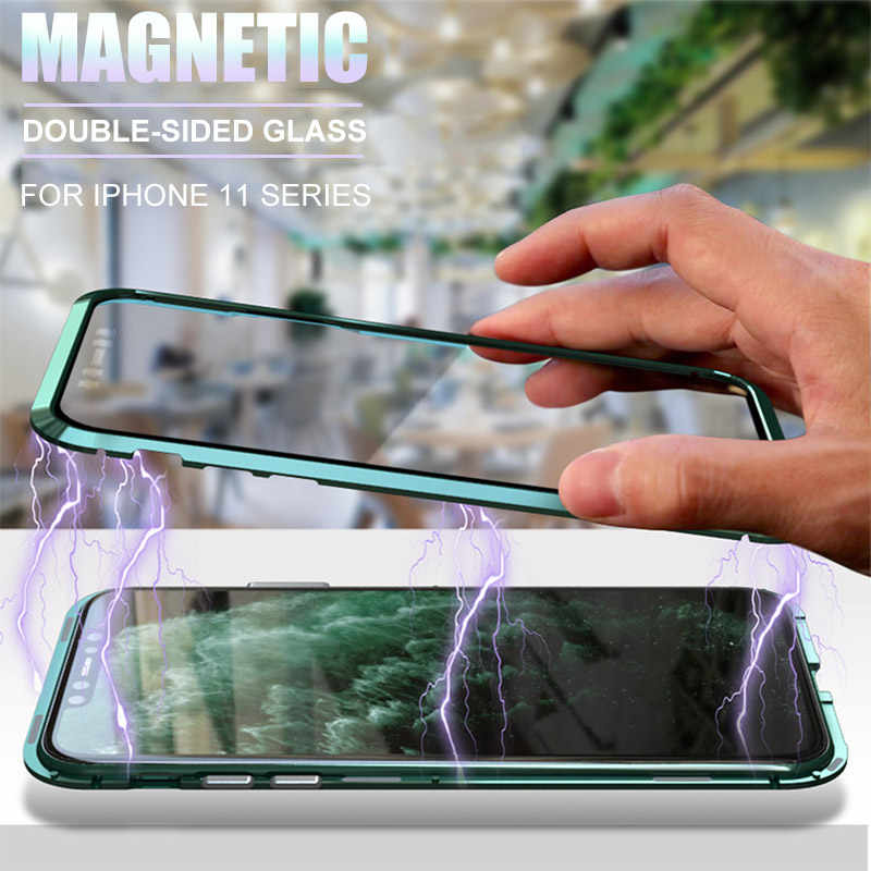 metal magnetic 360 phone case for i phone 11 pro max  XR XSMAX 7 8 PLUS double-sided tempered glass cover iphone 11 case
