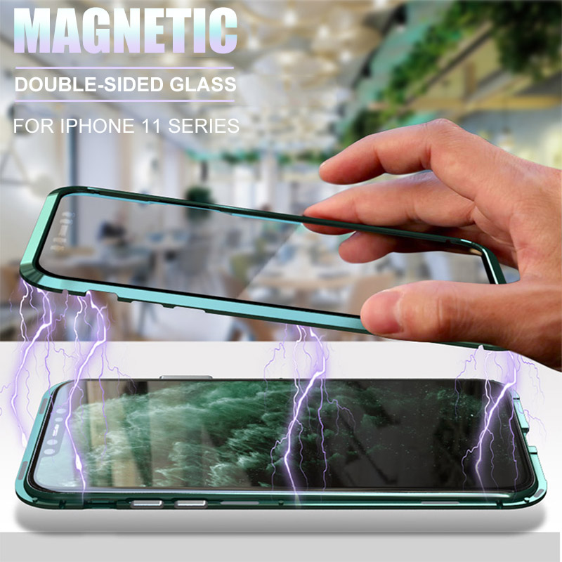 metal magnetic 360 phone case for i phone 11 pro max XR XSMAX 7 8 PLUS double-sided tempered glass cover iphone 11 case(China)