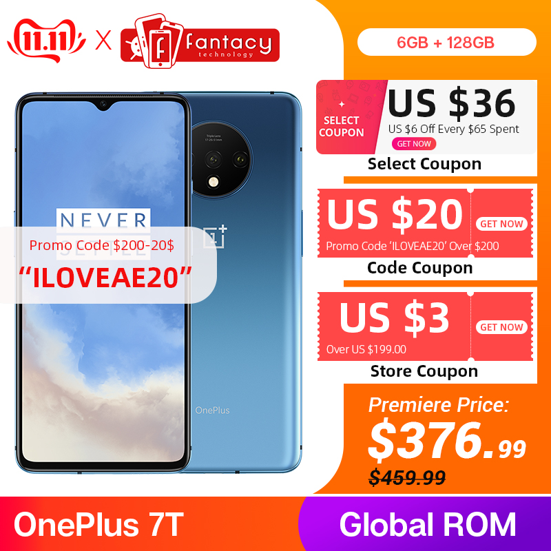 In Stock Global ROM OnePlus 7T 8GB 128GB Smartphone Snapdragon 855 Plus Octa Core 90Hz AMOLED Screen 48MP Triple Cameras NFC