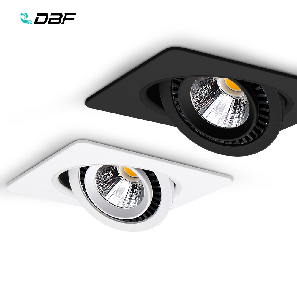 DBF Square 360 Angle Adjustable LED COB Recessed Downlight Black White 5W 7W 10W 12W 15W LED Ceiling Spot Light Pic Background