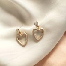 Белые серьги с сердечками для девочек в богемном стиле