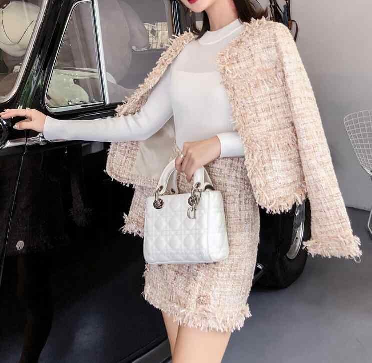 Si adatta alle Donne Del Progettista della Pista Elegante Signore Ufficio Formale Tweed Giacca Cappotto Giacca Corta Mini Gonna 2 Pezzi Set Vestito di Vestito