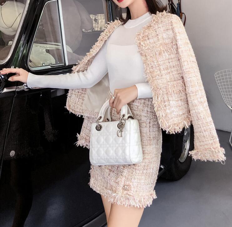 Suits Women Runway Designer Elegant Office Ladies Formal Tweed Blazer Short Jacket Coat Mini Skirt 2 Piece Set Suit Outfit