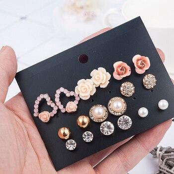 2019 New Fashion Women 9pair/set Flower Pearl Alloy Ear Earring Cute Crystal Wedding Jewelry Gifts For Girl korean fashion 2
