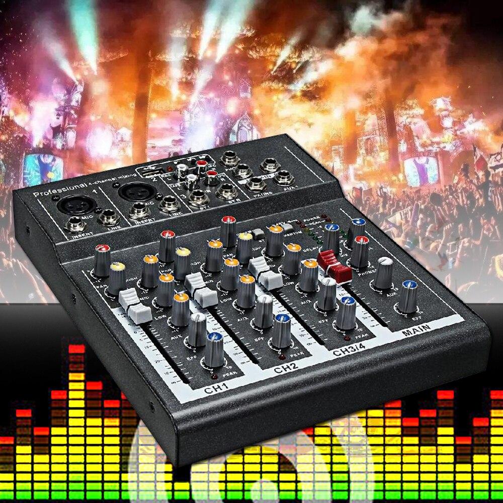 Prise américaine noir Mini karaoké Audio mélangeur amplificateur Microphone professionnel mixage Console de son 4 canaux USB 48V alimentation fantôme