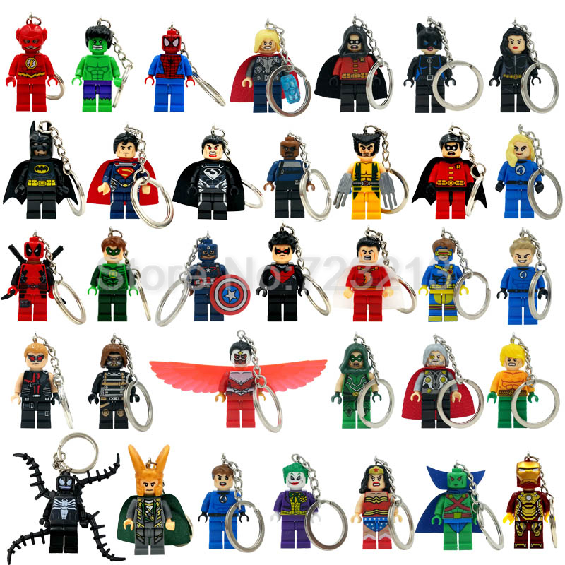 Marvel Super Hero Keychain Figure Superman Ultron Mr Fantastic Cyclops Arrow The Falcon Key Ring Blocks Toys Legoing
