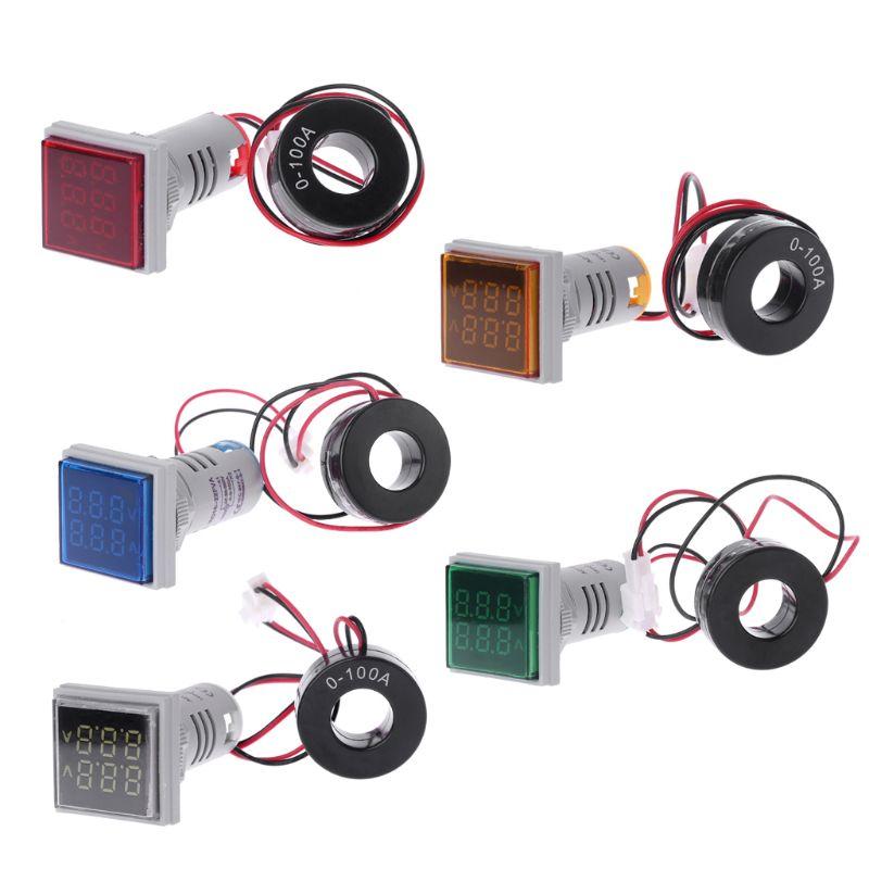 Square LED Digital Dual Display Voltmeter & Ammeter Voltage Gauge Current Meter AC 60-500V 0-100A Instruments And Apparatus
