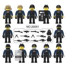 12 teile/satz Military Special Forces Soldaten Ziegel Figuren Guns Waffen Kompatibel Legoings Bewaffneten SWAT Bausteine Spielzeug