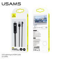 USAMS Lightning to HDMI Converter USB HDMI HD 4K Cable for iPhone 12 Pro Mini 11 8 X Max iPad to HDMI TV AV Adapter Projector Display HDTV