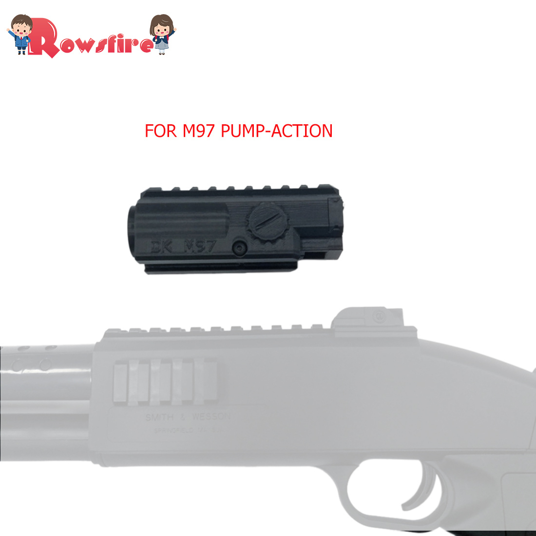 Rowsfire 1 Pcs Large Capacity Magazine For M97 Pump-Action Water Gel Beads Shot Blaster - Black