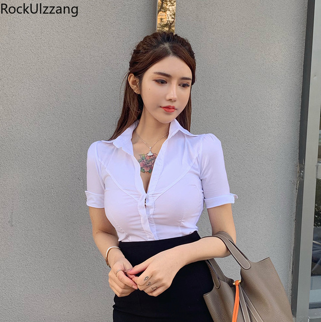 Fashion Simple Casual Solid White Short Sleeve Button Slim Crop Top Sexy Office Ladies Turndown Blouse Women Plus Size Shirt Tee 6