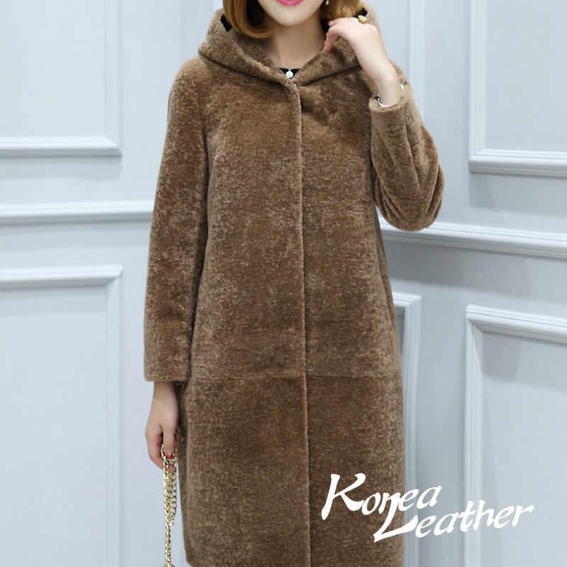 Casaco de pele real ovelha feminino, sobretudo com capuz de lã longo plus size casaco de inverno zt239