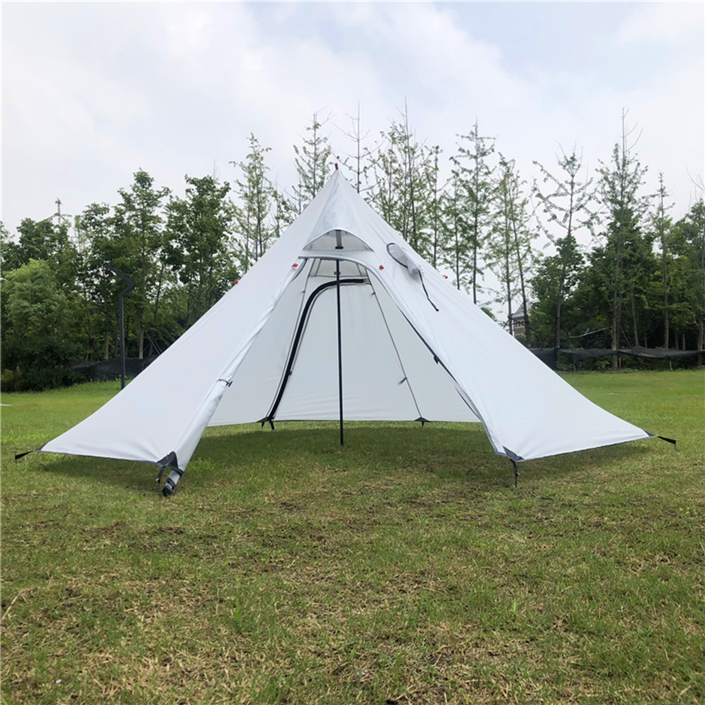 Ultralight Outdoor Camping Pyramid Tent Large Sun Shade Shelter Teepee With Stovepipe Hole For Backpacking Hiking Fishing Beach