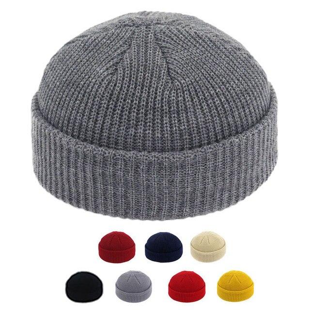 Men Knitted Brimless Hats Hip Hop Beanie Skullcap Street Hat Women Men Acrylic Unisex Casual Solid Pumpkin Portable Melon Cap