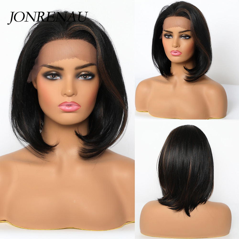 Image 2 - JONREANU Synthetic Lace Front Wig Short Curly Ombre Brown Heat Resistant Fiber Afro Wig for African American WomenSynthetic None-Lace  Wigs   -