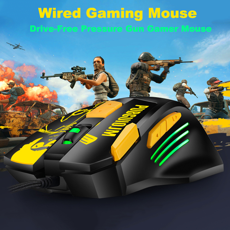 4800DIP USB Optical Wired Gaming Mouse For Notebook Desktop PC Mouse Drive-free Pressure Gun Cable Mouse Gamer Ergonomics Mice