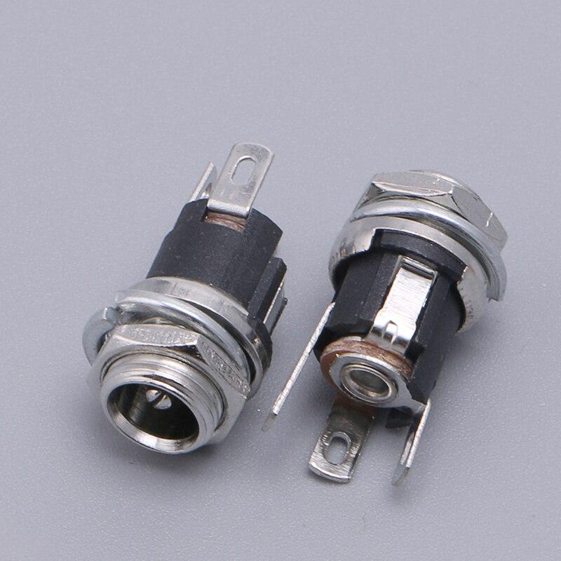 10 pièces/ensemble connecteur prise d'alimentation cc prise femelle panneau montage connecteur 5.5*2.1mm