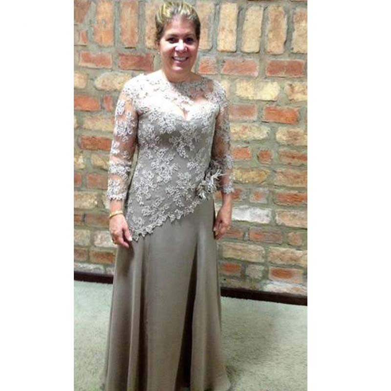 Plus Size Mother Of The Bride Dresses A-line 3/4 Sleeves Chiffon Appliques Beaded Groom Mother Dresses For Weddings