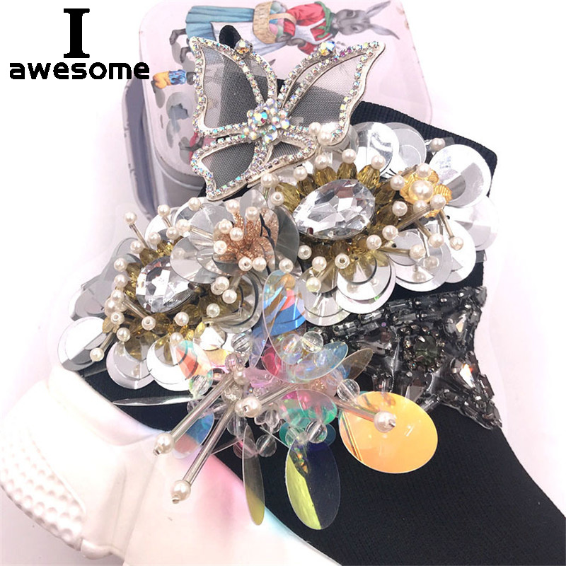 Fashion Shining Bling Flower Bridal Wedding Party Shoes Accessories For High Heels Shoes Boots Flats DIY Shoe's Decorations