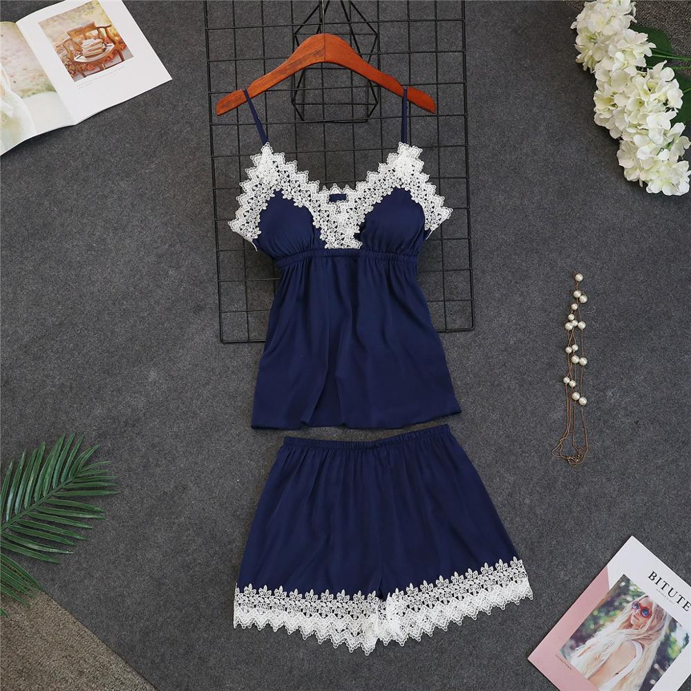 Женские пижамы, 5 шт., атласная пижама, шелковая Домашняя одежда, домашняя одежда, вышивка, Пижама для сна, для отдыха, пижама с нагрудными накладками - Цвет: navy blue B