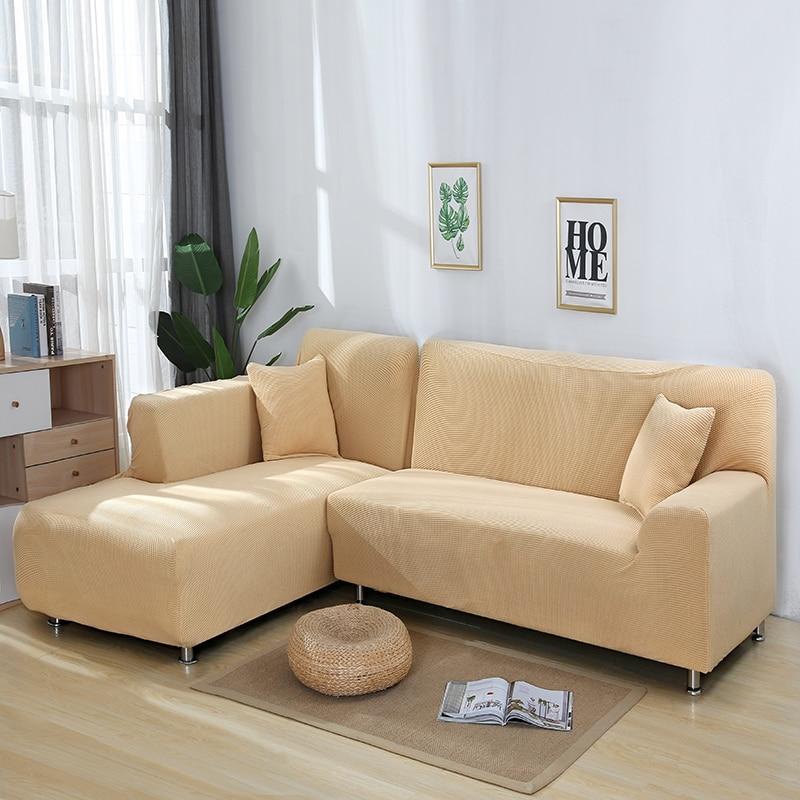 Sofá para Sala de Estar Escritório em Casa Tricô Elástico Sofá Capa All-inclusive Macio Cor Sólida Slipcover Canto 1 – 2 3 4 Seater