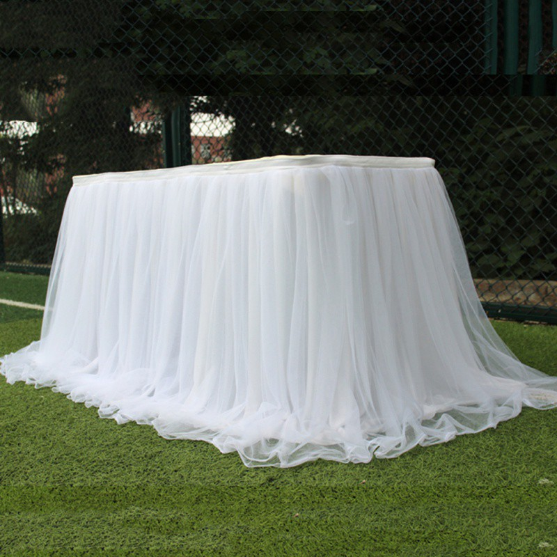 New Colorful Table Skirt Tulle tablecloth for wedding party table decoration home textile Party Accessories