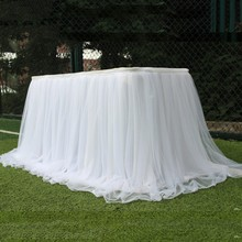 New Colorful Table Skirt Tulle tablecloth for wedding party table decoration home textile tablecloth Party Accessories 4 color handmade tulle tableware tablecloth for party wedding banquet home decoration nice sweet table skirt