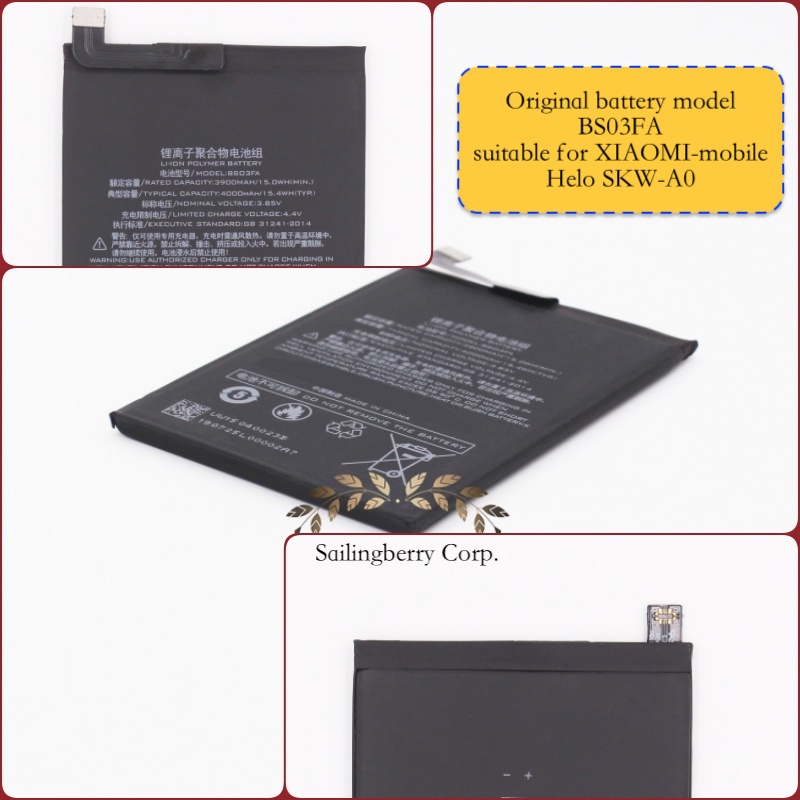 Original battery suitable for XIAOMI-mobile SKW-A0 with battery model BS03FA(It is safe to check before placing order image